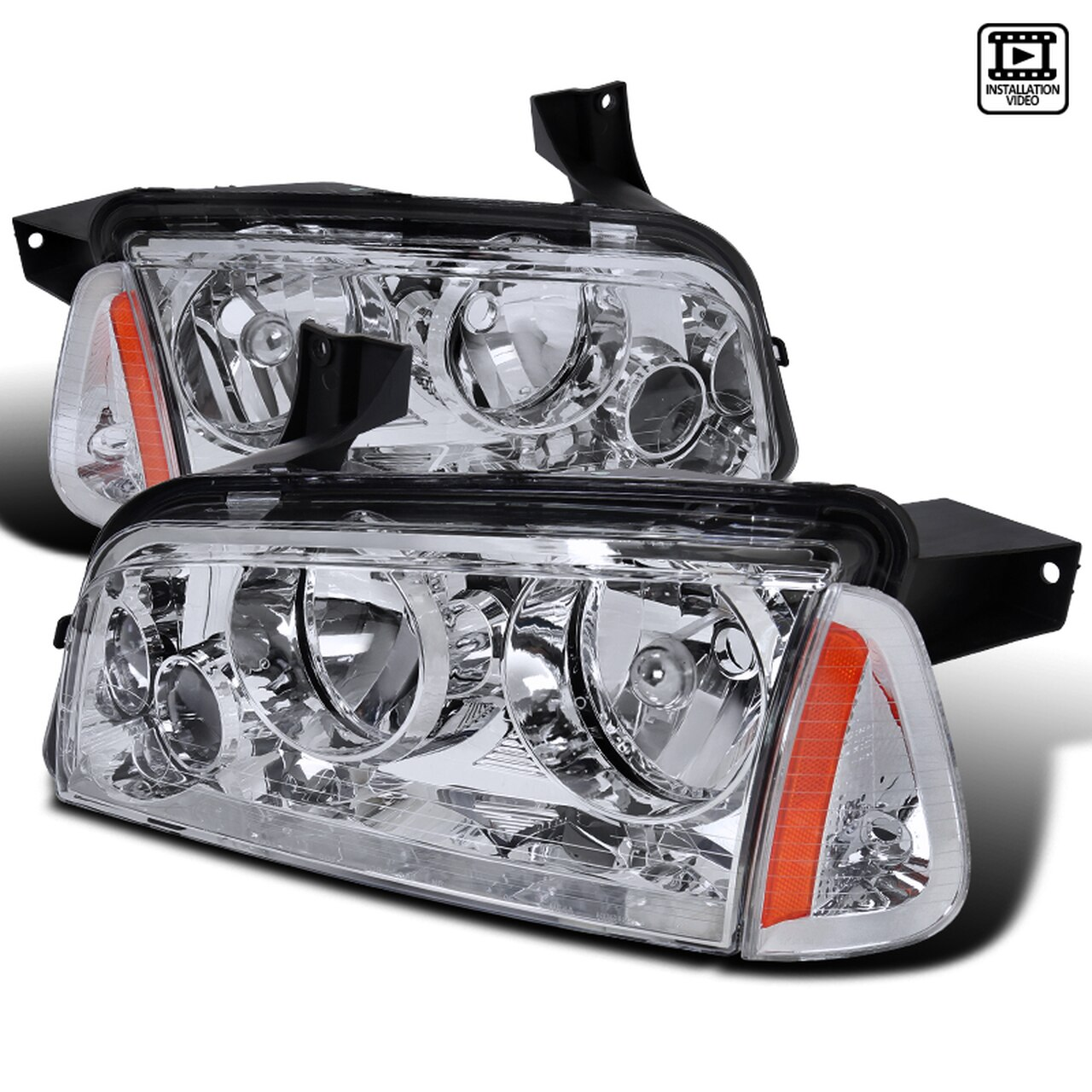 2006-2010 Dodge Charger Factory Style Headlights + Corner Lights (Chrome Housing/Clear Lens)