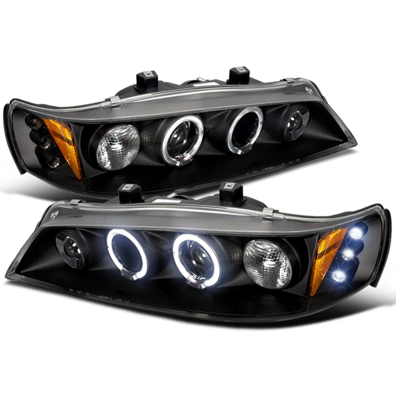 1994-1997 Honda Accord Dual Halo LED Projector Headlights (Matte Black Housing/Clear Lens)