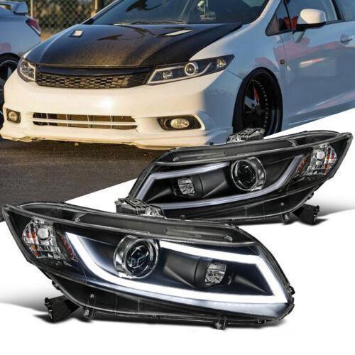 2012-2015 Honda Civic LED Bar Projector Headlights - Matte Black Housing/Clear Lens