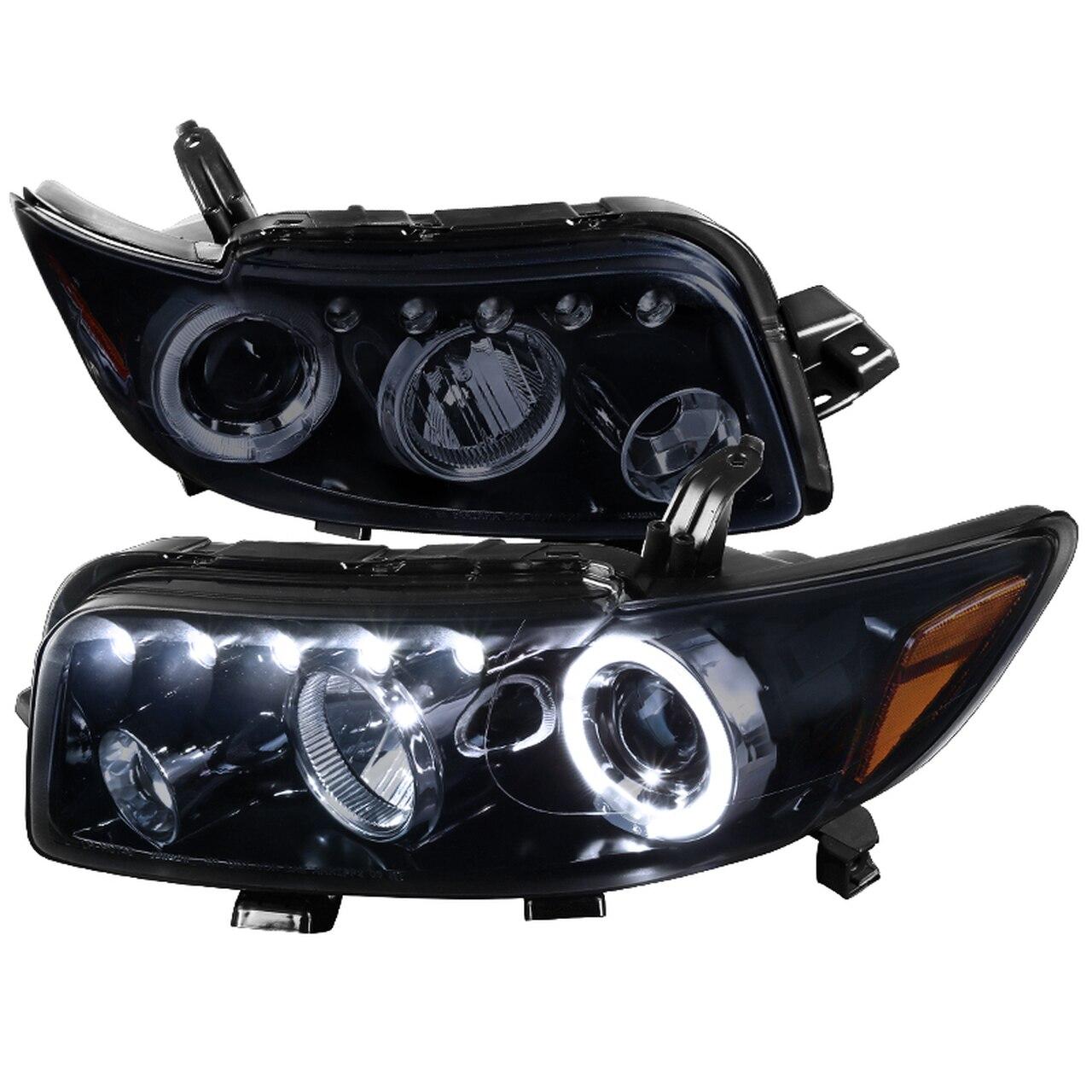2008-2010 Scion XB Single Halo LED Projector Headlights (Glossy Black Housing/Smoke Lens)