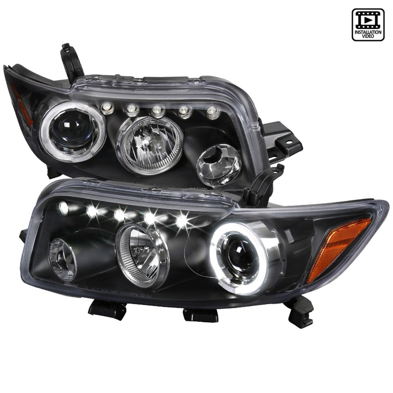 2008-2010 Scion XB Single Halo LED Projector Headlights (Matte Black Housing/Clear Lens)
