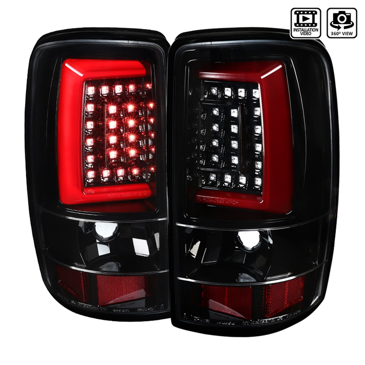 2000-2006 Chevrolet GMC Suburban/Tahoe/Yukon/Yukon XL Denali LED Tail Lights (Jet Black Housing/Clear Lens)