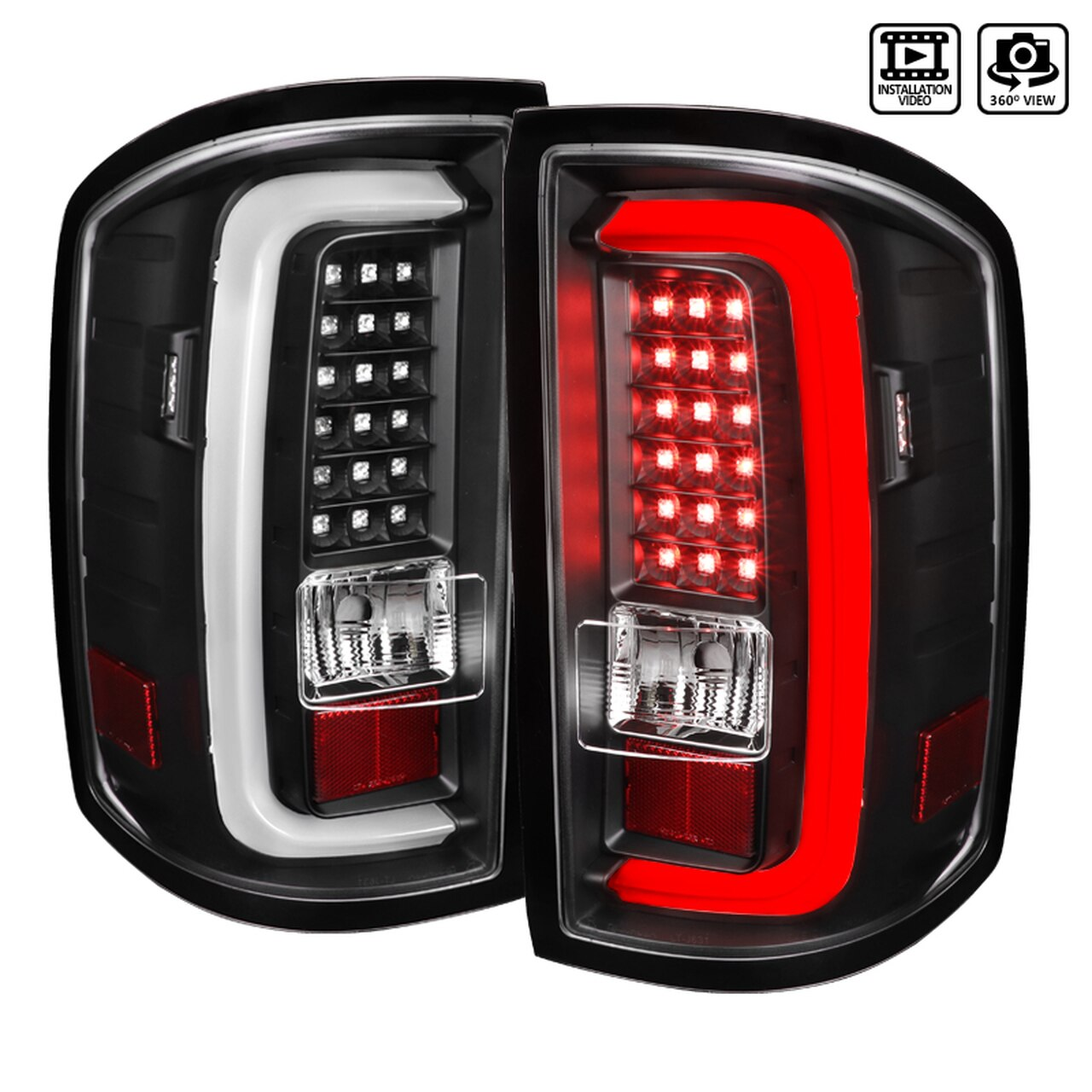 2014-2018 GMC Sierra LED Tail Lights (Matte Black Housing/Clear Lens)